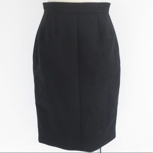 auth CHANEL size 38 tuxedo skirt black WOOL